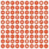 apelsin för sexhörning för 100 auto symboler för tjänste- mitt Arkivbild