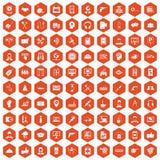 apelsin för sexhörning för 100 servicesymboler Royaltyfria Bilder