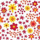 Apelsin för stil för färgrik höst för vektor plan och röda blommor, sömlös modellbakgrund stock illustrationer