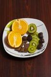Apelsin kiwi, choklad Royaltyfria Bilder