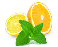 Apelsin med citronen och mintkaramellen Arkivfoto