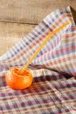 Apelsin med coctailsugrör Fotografering för Bildbyråer