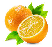 Apelsin med en halva av apelsinen och bladet som tillbaka isoleras på viten Royaltyfria Bilder