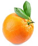 Apelsin med sidor som isoleras på en vit bakgrund Royaltyfri Fotografi