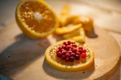 apelsin med tranbär Fotografering för Bildbyråer