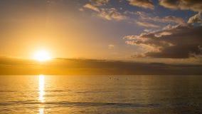 Apelsin- och blåttsolnedgång över golfen av Mexico av västkusten av Florida Arkivfoton