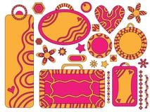 Apelsin- och rosa färgetiketter, blommor, hjärtor, stjärnor Royaltyfria Foton