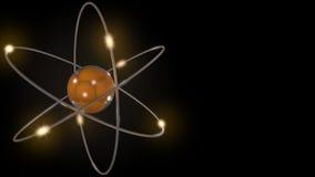 Apelsin stiliserade atom- och elektronomlopp Vetenskaplig bakgrund med fritt utrymme för inskrifter Kärn- fysik som är atom- Arkivbilder