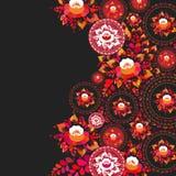 Apelsinblommor och sidor för tappning sjaskiga chic röda på svart bakgrund fjädra den romantiska garneringkortdesignen, banermall stock illustrationer