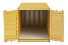 Apelsinen öppnade den tomma lastbehållaren, främre sikt framförande 3d Royaltyfri Bild