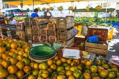 Apelsinen bär frukt på gatamarknaden Royaltyfri Foto