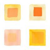 Apelsinen kvadrerar den enkla sömlösa vattenfärgen Arkivbilder