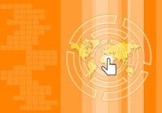 Apelsinen tonar abstrakt teknologibakgrund stock illustrationer