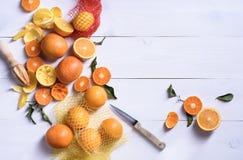 Apelsiner citrusfrukter med fruktsaftpressen kopiera avstånd Royaltyfria Bilder