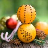Apelsiner med kryddnejlikor royaltyfri fotografi