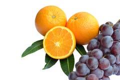 Apelsiner och druvor. Arkivfoton