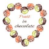 Apelsiner och kiwi i choklad Ram på en vit bakgrund stock illustrationer