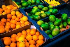 Apelsiner och mango i askar Arkivbild