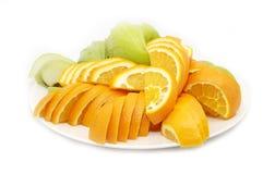 apelsiner plate skivat Royaltyfri Fotografi