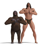 The apeman and the gorilla are ground friends Royalty Free Stock Images