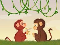 Apen in de wildernis royalty-vrije illustratie