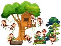 Apen die en op treehouse spelen beklimmen stock illustratie