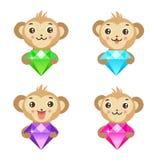 Apen en diamant Vector illustratie Royalty-vrije Stock Fotografie