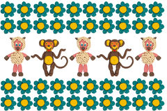Apen en schapen in bloemen royalty-vrije stock afbeeldingen