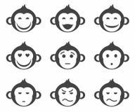 Apen, kleine smiley, zwart-wit pictogram, Stock Afbeeldingen