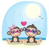 Apen in zonnebril royalty-vrije illustratie