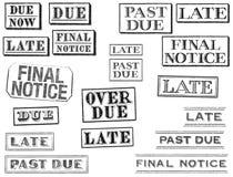 Apenado tarde, atrasados, y finales sellos del aviso Imágenes de archivo libres de regalías