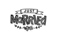 Apenas casado - cart?o de casamento ilustração do vetor