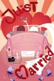 Apenas casado casandose diseño de tarjeta de la invitación Imágenes de archivo libres de regalías
