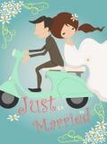 Apenas casado casandose diseño de tarjeta de la invitación Fotografía de archivo