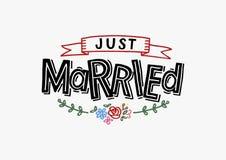 Apenas casado - tarjeta de felicitaci?n de la boda, invitaci?n, cartel libre illustration