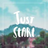 Apenas comece citações da inspiração e da motivação Imagem de Stock