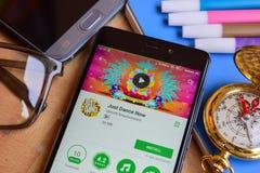 Apenas dance agora o colaborador app na tela de Smartphone foto de stock royalty free