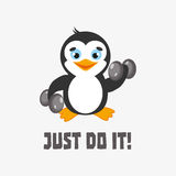 Apenas faça-o Ilustração do vetor da motivação com esporte do pinguim Imagem de Stock