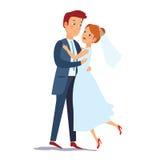 Apenas la novia casada y el novio que se abrazan novia y el novio felices de la pareja miran blando uno a en su boda Imagen de archivo libre de regalías
