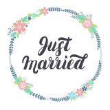Apenas letras casadas con la guirnalda floral Imagen de archivo libre de regalías