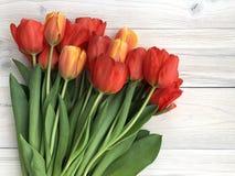 Apenas llovido encendido Ramo de tulipanes rojos en fondo de madera fotografía de archivo