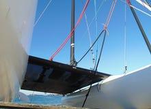Apenas na frente do catamarã imagens de stock royalty free