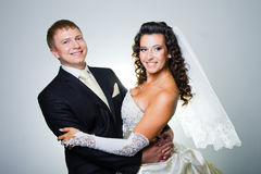 Apenas noiva e noivo casados Imagem de Stock Royalty Free