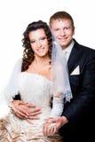 Apenas noivo e noiva casados no branco isolado Imagens de Stock