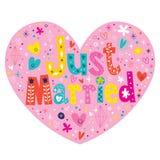 Apenas o coração casado deu forma ao cartão do coração do texto da rotulação da tipografia Fotos de Stock