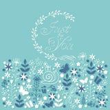 Apenas para você cartão floral da garatuja ilustração royalty free