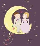 Apenas pares casados en la luna Foto de archivo libre de regalías