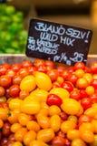 Apenas tomates colhidos para a venda no mercado local da exploração agrícola Copenhaga, Dinamarca Imagem de Stock