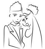 Apenas vetor dos desenhos animados do casal ilustração stock