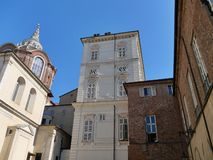 Aperçu de différentes ères et de centre ville architectural de Turin de cultures images libres de droits